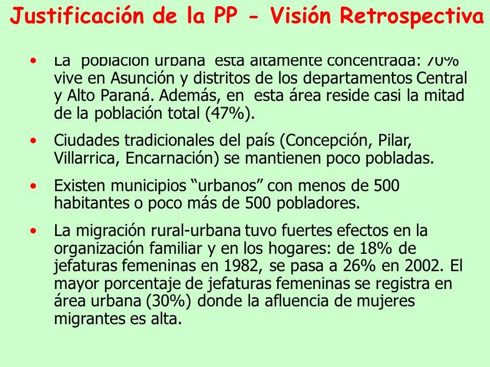 Las migraciones internas provocaron la aceleración del ritmo de urbanización y una alta concentración demográfica en Asunción y departamento Central (Area Metropolitana).