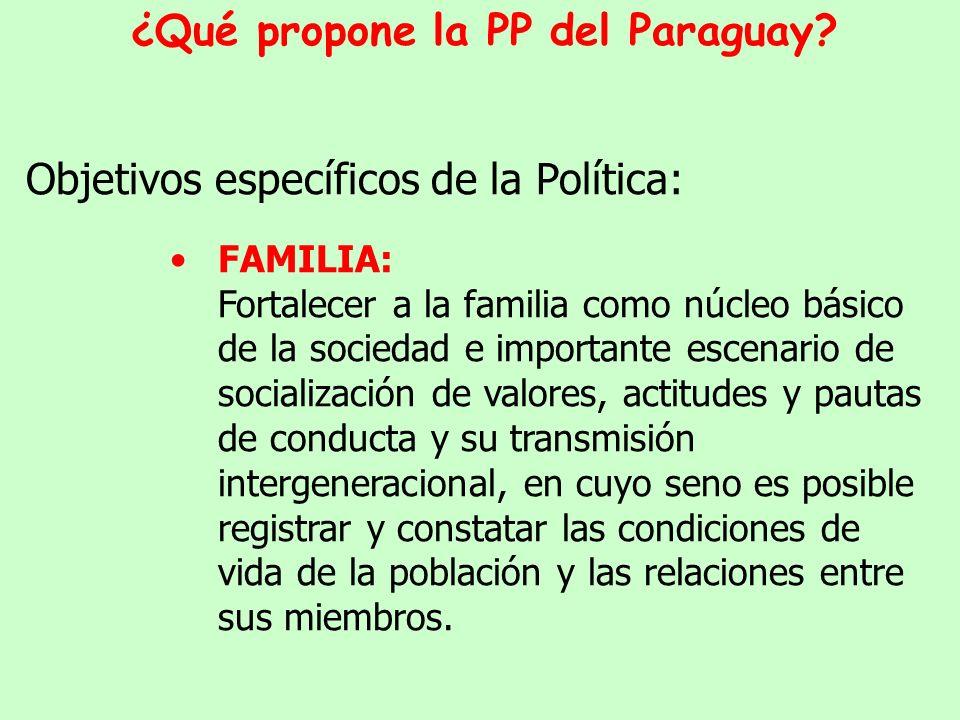 Ejes centrales de la política: La Política de Población propone medidas y estrategias en 3 ejes centrales de acción: La familia El capital humano y social Las migraciones y la distribución espacial de la población ¿Qué propone la PP del Paraguay