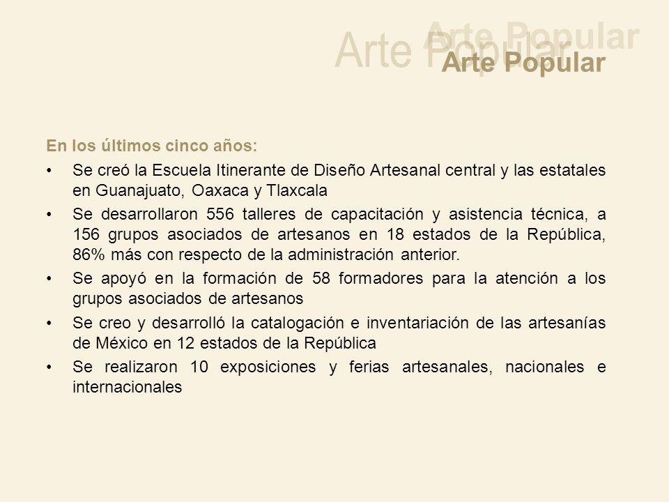 En los últimos cinco años: Se creó la Escuela Itinerante de Diseño Artesanal central y las estatales en Guanajuato, Oaxaca y Tlaxcala Se desarrollaron