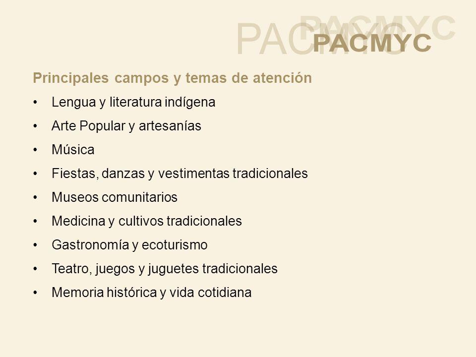 Principales campos y temas de atención Lengua y literatura indígena Arte Popular y artesanías Música Fiestas, danzas y vestimentas tradicionales Museo