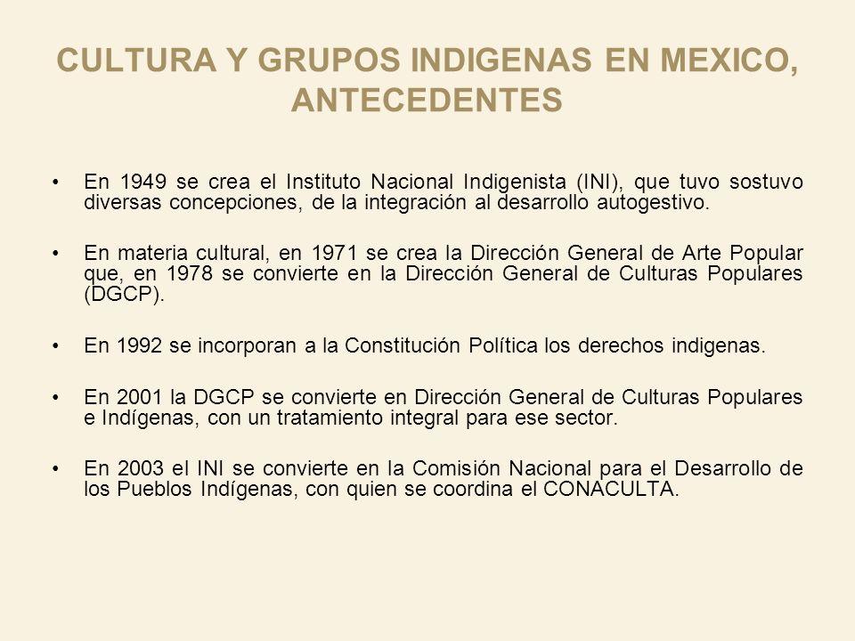 CULTURA Y GRUPOS INDIGENAS EN MEXICO, ANTECEDENTES En 1949 se crea el Instituto Nacional Indigenista (INI), que tuvo sostuvo diversas concepciones, de