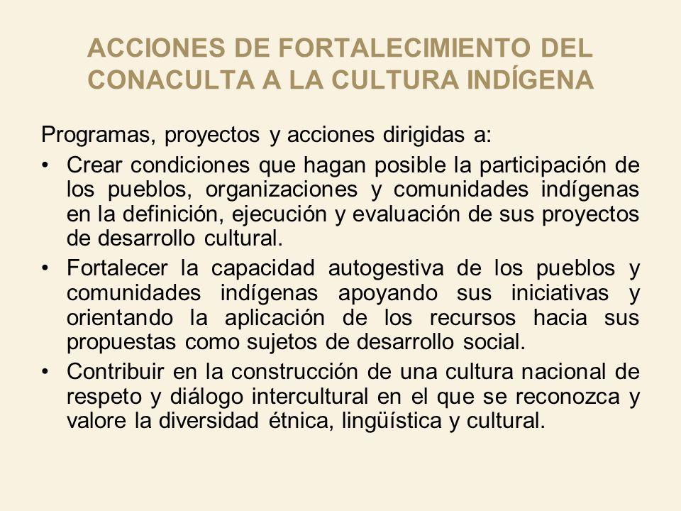 ACCIONES DE FORTALECIMIENTO DEL CONACULTA A LA CULTURA INDÍGENA Programas, proyectos y acciones dirigidas a: Crear condiciones que hagan posible la pa