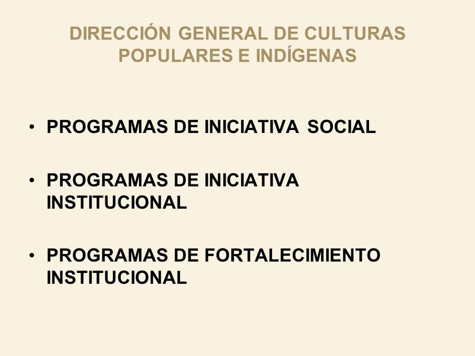DIRECCIÓN GENERAL DE CULTURAS POPULARES E INDÍGENAS PROGRAMAS DE INICIATIVA SOCIAL PROGRAMAS DE INICIATIVA INSTITUCIONAL PROGRAMAS DE FORTALECIMIENTO