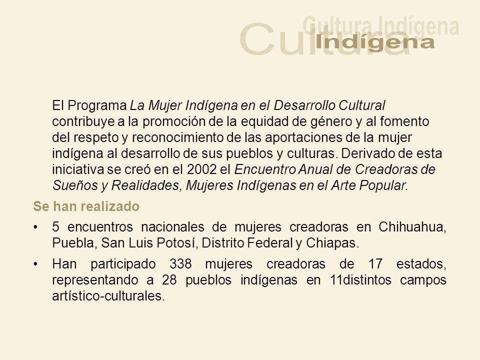 El Programa La Mujer Indígena en el Desarrollo Cultural contribuye a la promoción de la equidad de género y al fomento del respeto y reconocimiento de