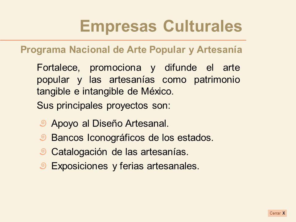 Fortalece, promociona y difunde el arte popular y las artesanías como patrimonio tangible e intangible de México. Sus principales proyectos son: Progr