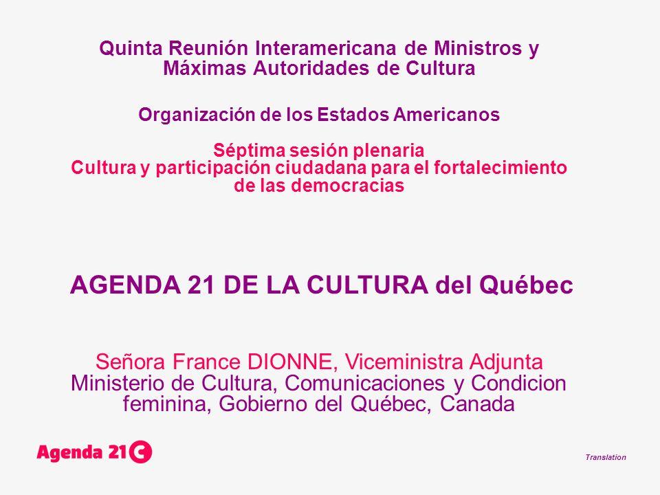 Translation Quinta Reunión Interamericana de Ministros y Máximas Autoridades de Cultura Organización de los Estados Americanos Séptima sesión plenaria