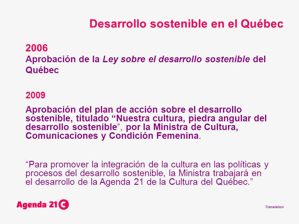 Translation 2006 Aprobación de la Ley sobre el desarrollo sostenible del Québec 2009 Aprobación del plan de acción sobre el desarrollo sostenible, tit
