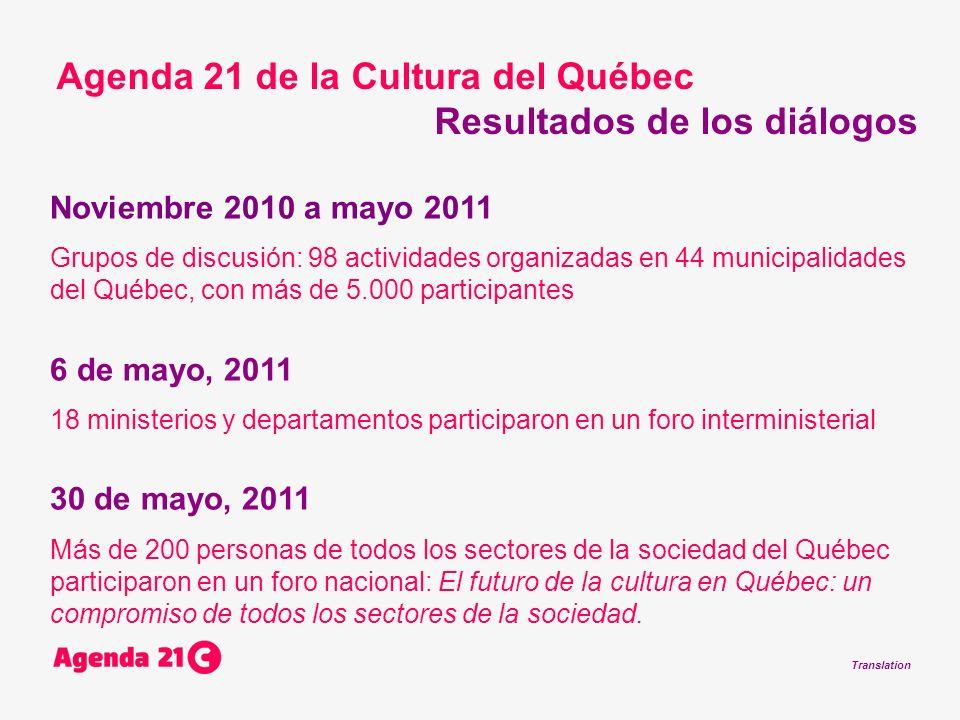 Translation Noviembre 2010 a mayo 2011 Grupos de discusión: 98 actividades organizadas en 44 municipalidades del Québec, con más de 5.000 participantes 6 de mayo, 2011 18 ministerios y departamentos participaron en un foro interministerial 30 de mayo, 2011 Más de 200 personas de todos los sectores de la sociedad del Québec participaron en un foro nacional: El futuro de la cultura en Québec: un compromiso de todos los sectores de la sociedad.