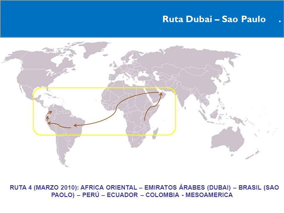Ruta Dubai – Sao Paulo. RRUTA 4 (MARZO 2010): AFRICA ORIENTAL – EMIRATOS ÁRABES (DUBAI) – BRASIL (SAO PAOLO) – PERÚ – ECUADOR – COLOMBIA - MESOAMERICA