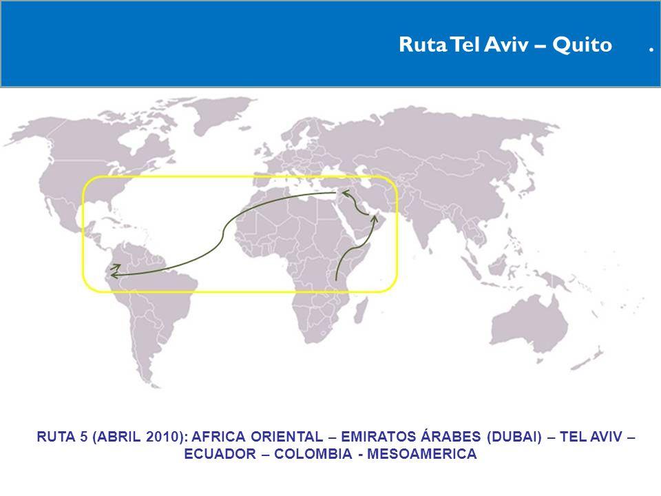 14 Ruta Tel Aviv – Quito. RRUTA 5 (ABRIL 2010): AFRICA ORIENTAL – EMIRATOS ÁRABES (DUBAI) – TEL AVIV – ECUADOR – COLOMBIA - MESOAMERICA