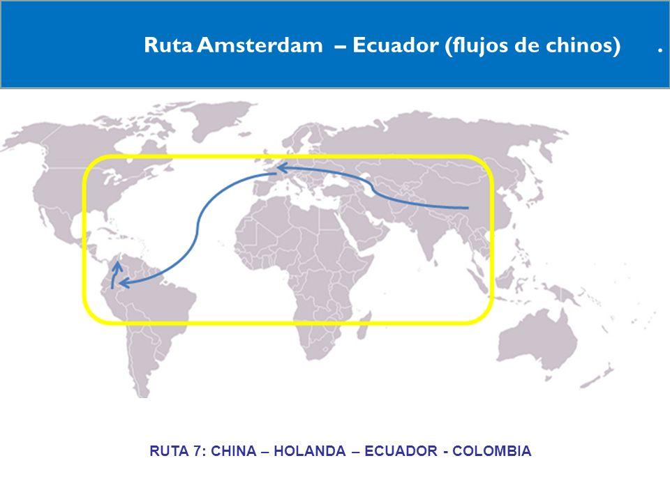 16 Ruta Amsterdam – Ecuador (flujos de chinos). RRUTA 7: CHINA – HOLANDA – ECUADOR - COLOMBIA