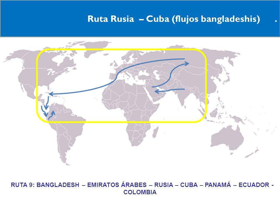 18 Ruta Rusia – Cuba (flujos bangladeshis). RRUTA 9: BANGLADESH – EMIRATOS ÁRABES – RUSIA – CUBA – PANAMÁ – ECUADOR - COLOMBIA