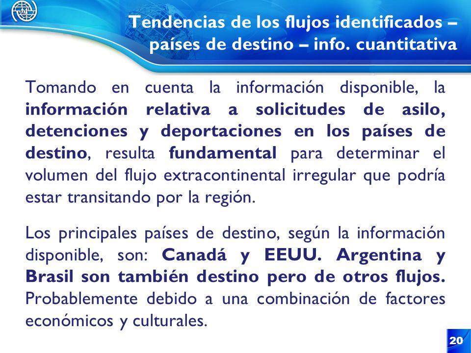 Tendencias de los flujos identificados – países de destino – info. cuantitativa Tomando en cuenta la información disponible, la información relativa a