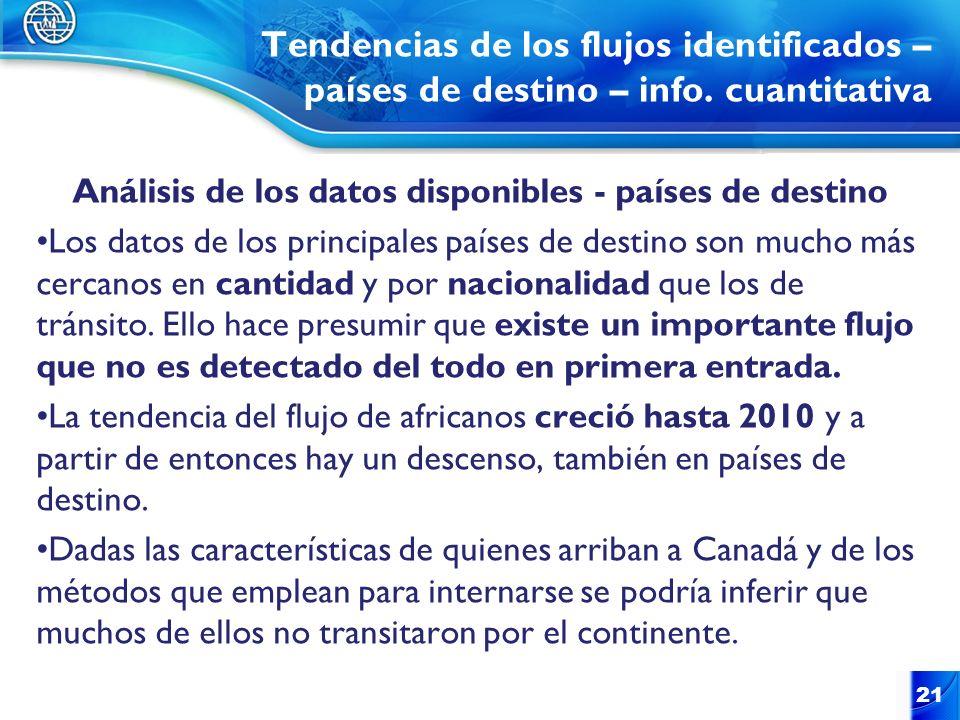 Tendencias de los flujos identificados – países de destino – info. cuantitativa Análisis de los datos disponibles - países de destino Los datos de los