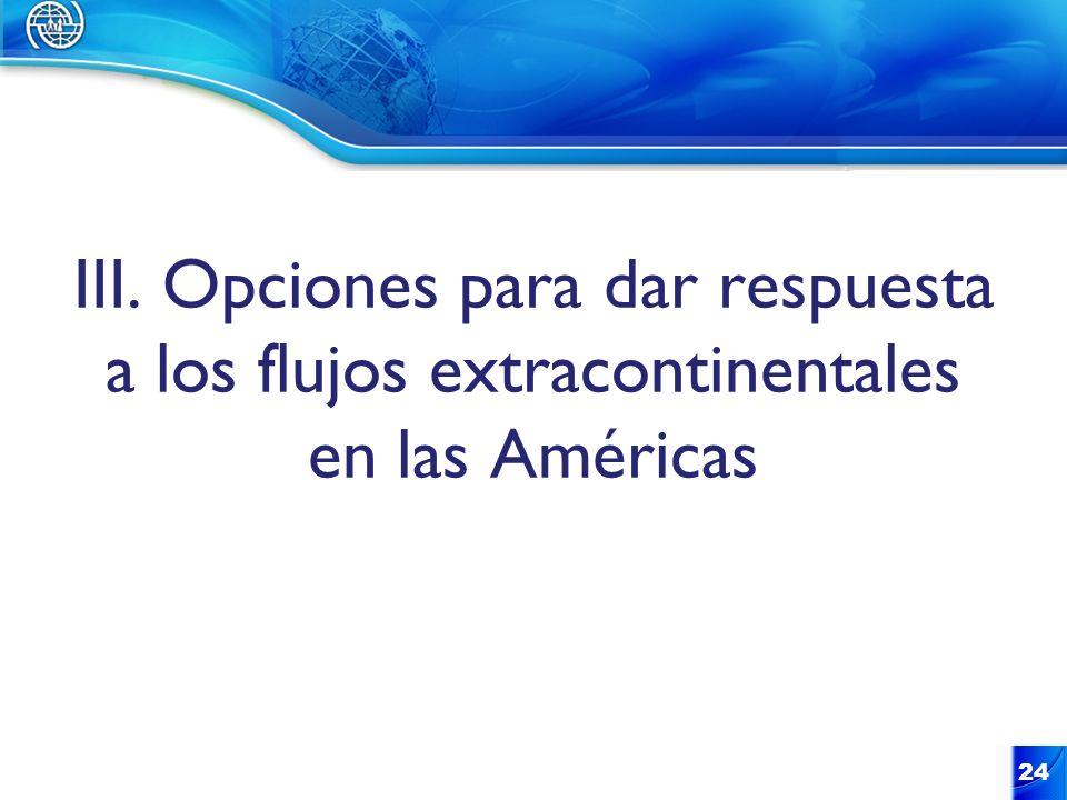III. Opciones para dar respuesta a los flujos extracontinentales en las Américas 24