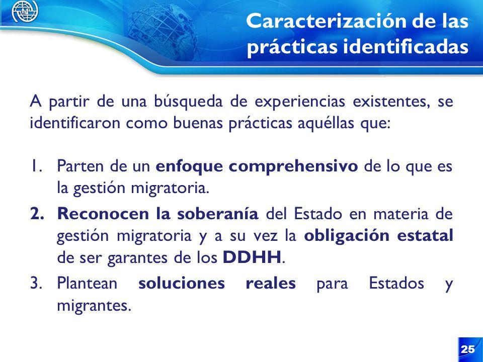 Caracterización de las prácticas identificadas A partir de una búsqueda de experiencias existentes, se identificaron como buenas prácticas aquéllas qu