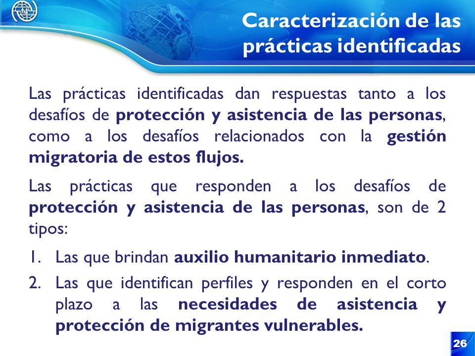 Caracterización de las prácticas identificadas Las prácticas identificadas dan respuestas tanto a los desafíos de protección y asistencia de las perso