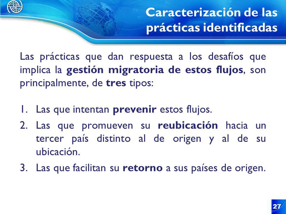 Caracterización de las prácticas identificadas Las prácticas que dan respuesta a los desafíos que implica la gestión migratoria de estos flujos, son p