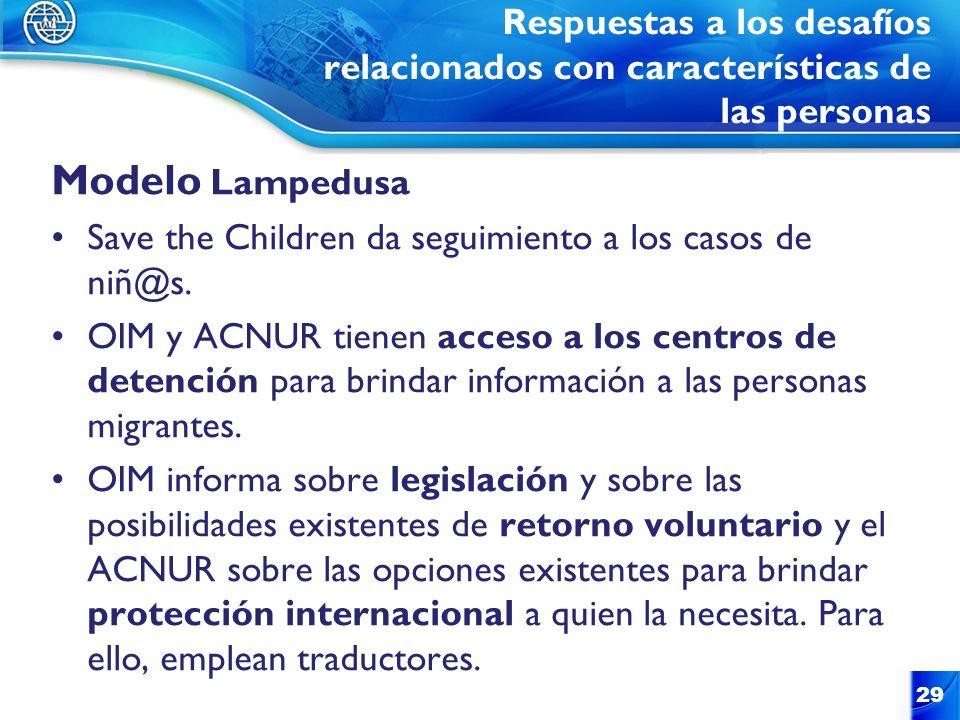 Respuestas a los desafíos relacionados con características de las personas Modelo Lampedusa Save the Children da seguimiento a los casos de niñ@s. OIM