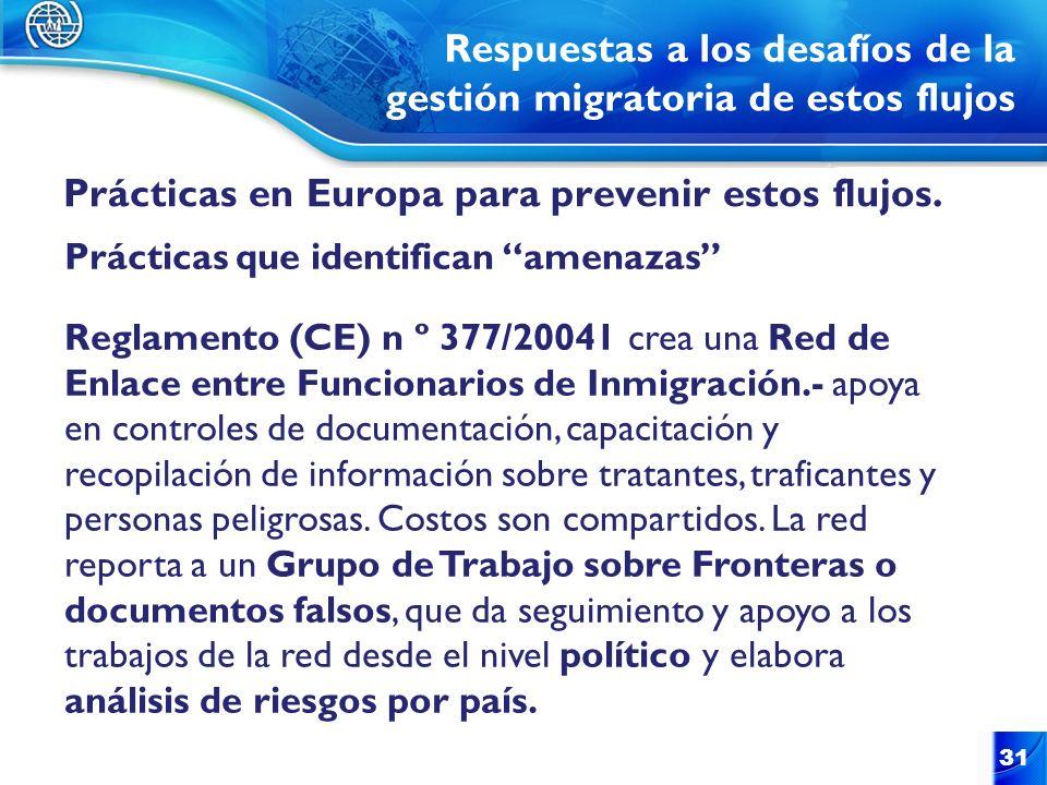 Respuestas a los desafíos de la gestión migratoria de estos flujos Prácticas en Europa para prevenir estos flujos. 31 Prácticas que identifican amenaz
