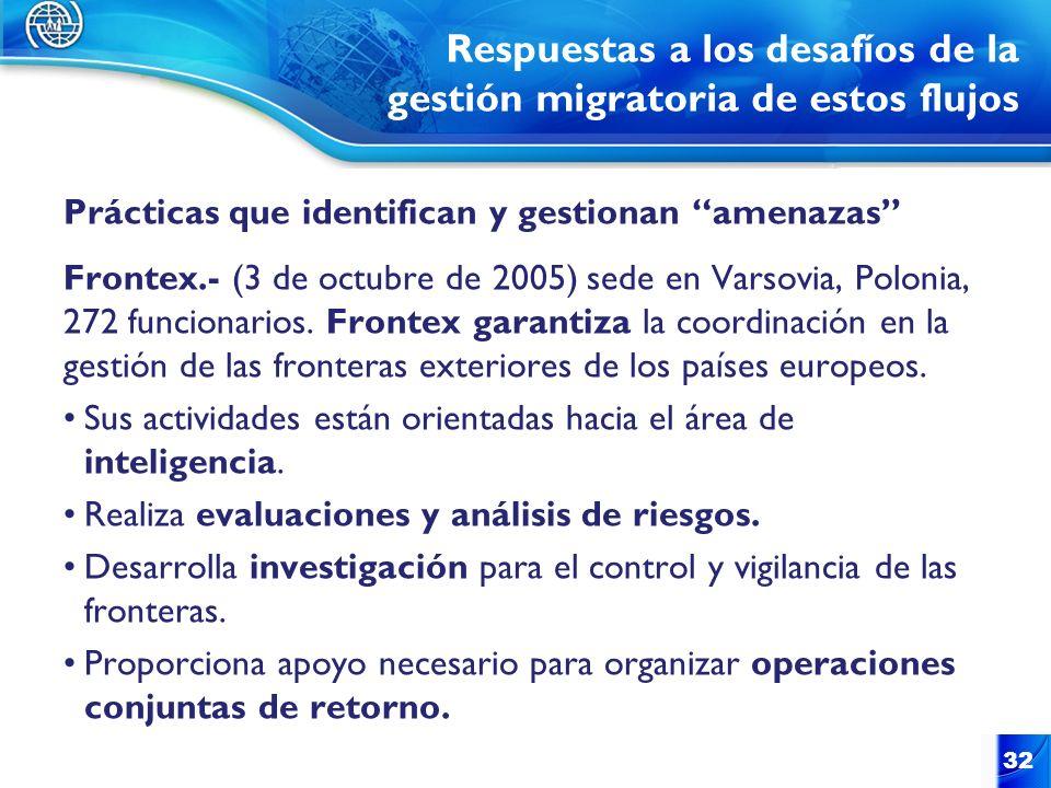 Respuestas a los desafíos de la gestión migratoria de estos flujos Prácticas que identifican y gestionan amenazas Frontex.- (3 de octubre de 2005) sed