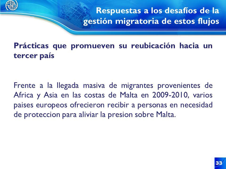 Respuestas a los desafíos de la gestión migratoria de estos flujos Prácticas que promueven su reubicación hacia un tercer país Frente a la llegada mas