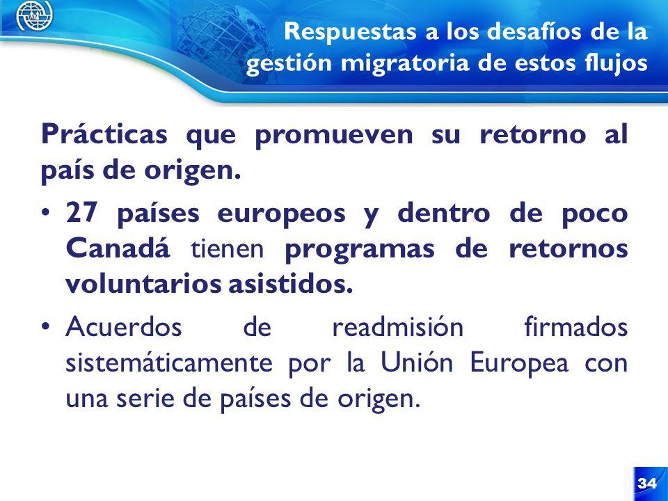 Respuestas a los desafíos de la gestión migratoria de estos flujos Prácticas que promueven su retorno al país de origen. 27 países europeos y dentro d