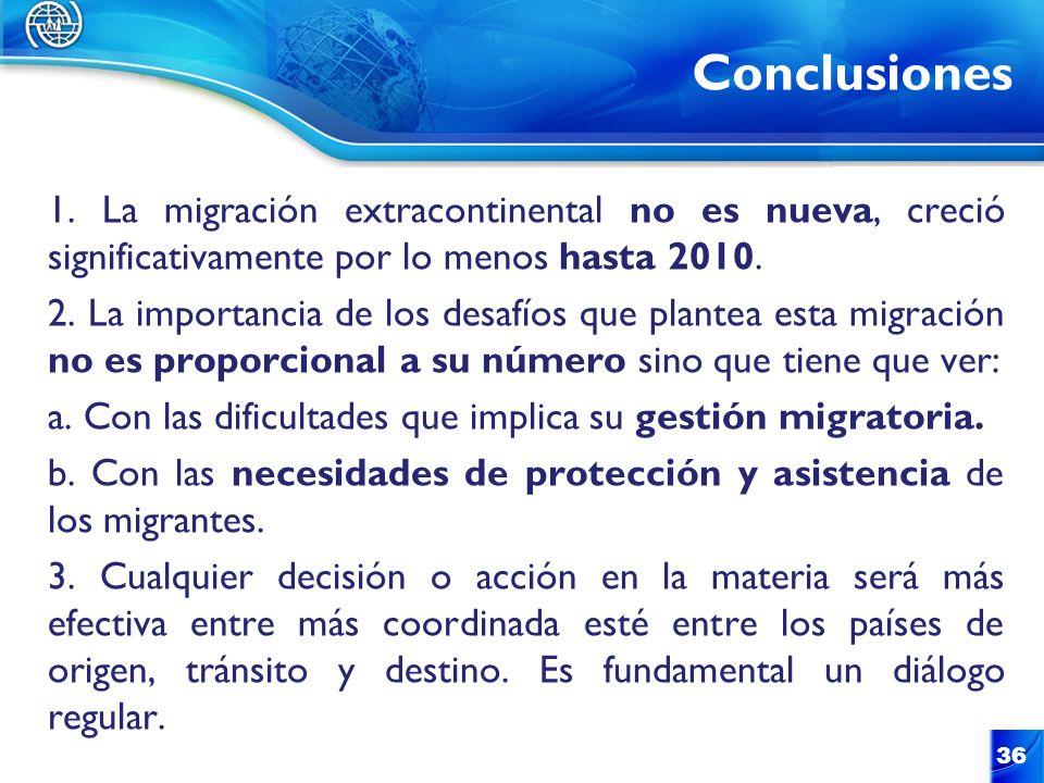 Conclusiones 36 1. La migración extracontinental no es nueva, creció significativamente por lo menos hasta 2010. 2. La importancia de los desafíos que
