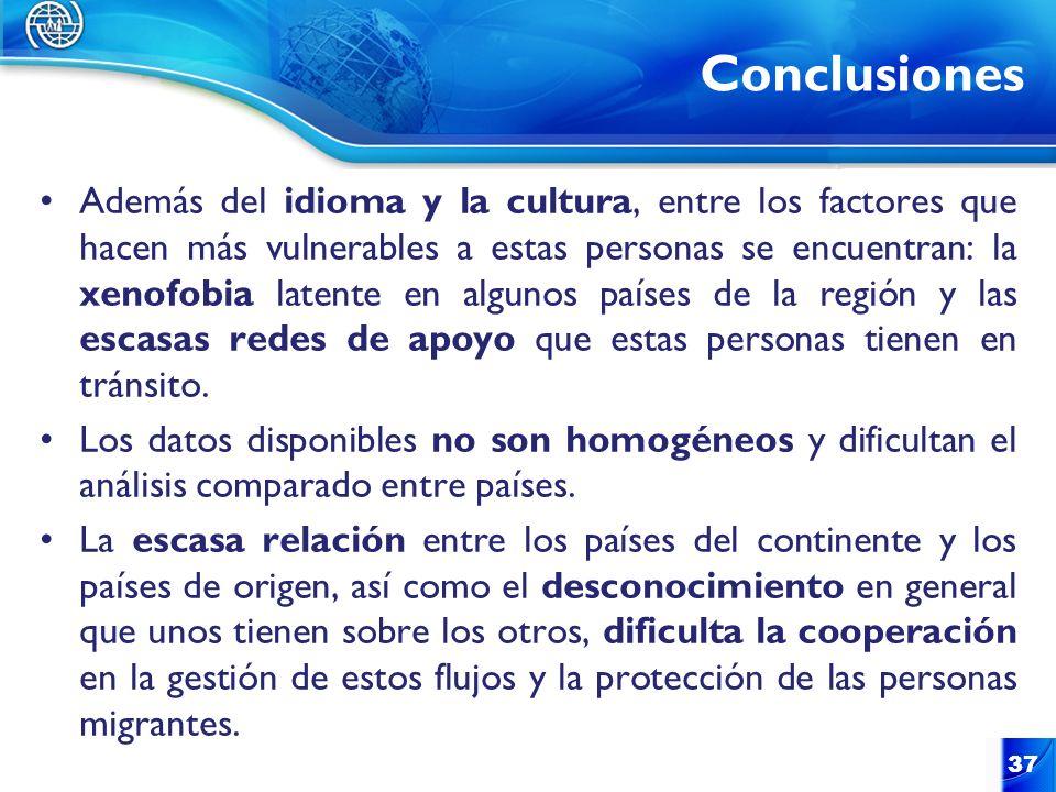 Conclusiones 37 Además del idioma y la cultura, entre los factores que hacen más vulnerables a estas personas se encuentran: la xenofobia latente en a