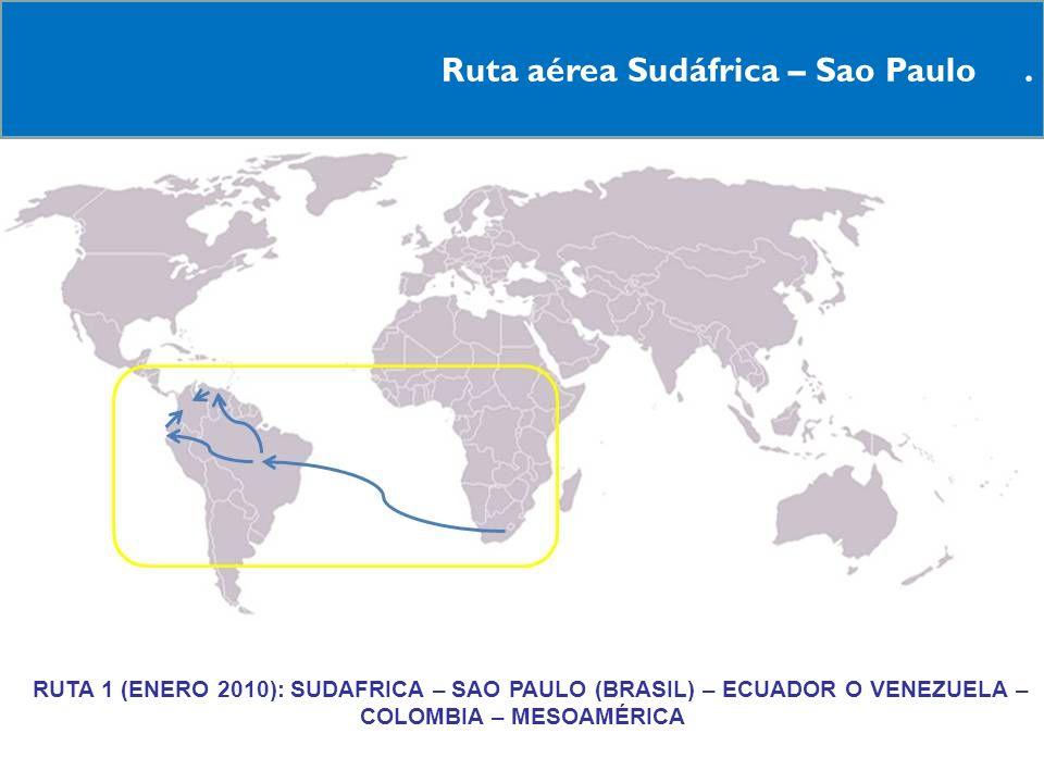Ruta aérea Sudáfrica – Sao Paulo. RRUTA 1 (ENERO 2010): SUDAFRICA – SAO PAULO (BRASIL) – ECUADOR O VENEZUELA – COLOMBIA – MESOAMÉRICA