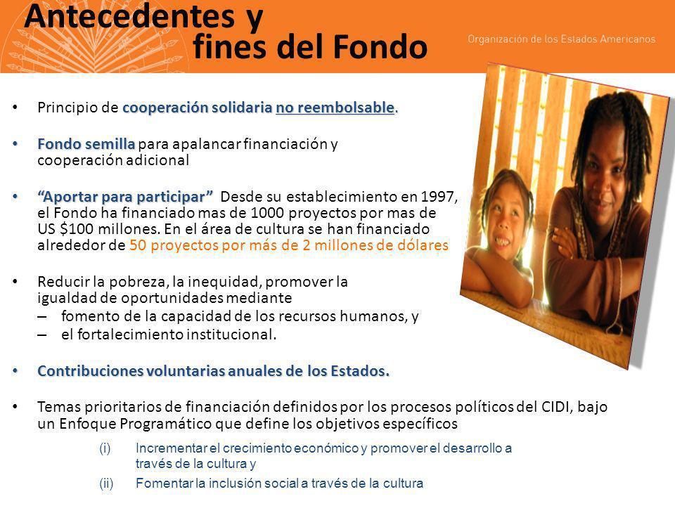 Antecedentes y fines del Fondo cooperación solidaria no reembolsable.