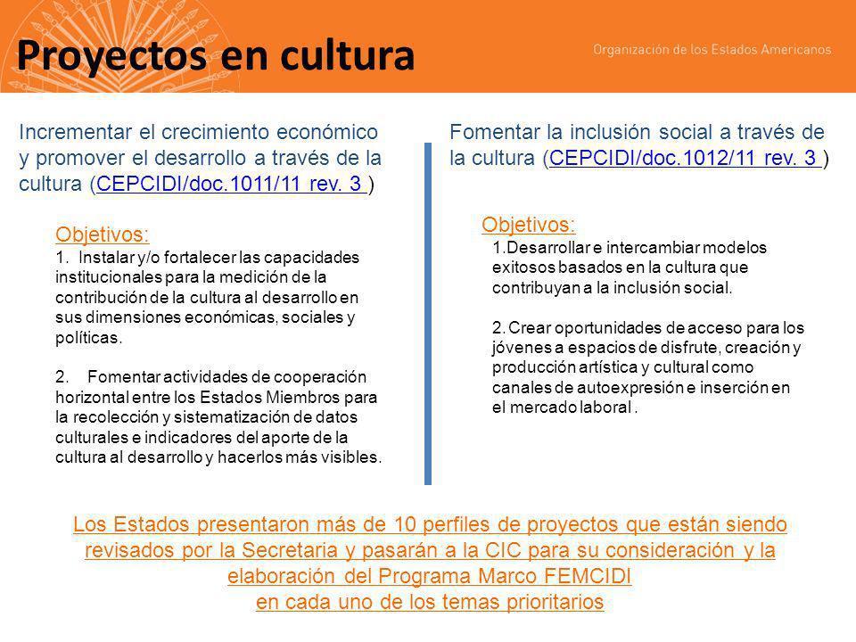 Proyectos en cultura Incrementar el crecimiento económico y promover el desarrollo a través de la cultura (CEPCIDI/doc.1011/11 rev.