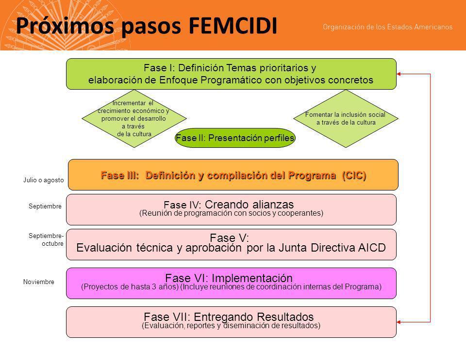 Próximos pasos FEMCIDI Fase I: Definición Temas prioritarios y elaboración de Enfoque Programático con objetivos concretos Incrementar el crecimiento económico y promover el desarrollo a través de la cultura Fase II: Presentación perfiles Fase III: Definición y compilación del Programa (CIC) Fase IV: Creando alianzas (Reunión de programación con socios y cooperantes) Fomentar la inclusión social a través de la cultura Fase V: Evaluación técnica y aprobación por la Junta Directiva AICD Fase VI: Implementación (Proyectos de hasta 3 años) (Incluye reuniones de coordinación internas del Programa) Fase VII: Entregando Resultados (Evaluación, reportes y diseminación de resultados) Septiembre Julio o agosto Septiembre- octubre Noviembre