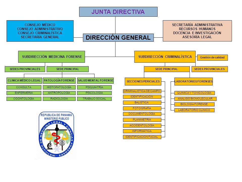 JUNTA DIRECTIVA DIRECCIÓN GENERAL CONSEJO MÉDICO CONSEJO ADMINISTRATIVO CONSEJO CRIMINALÍSTICA SECRETARÍA GENERAL SECRETARÍA ADMINISTRATIVA RECURSOS H