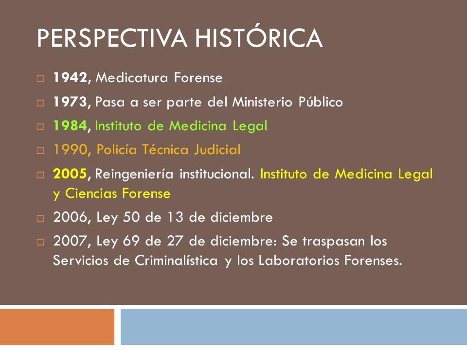 PERSPECTIVA HISTÓRICA 1942, Medicatura Forense 1973, Pasa a ser parte del Ministerio Público 1984, Instituto de Medicina Legal 1990, Policía Técnica J