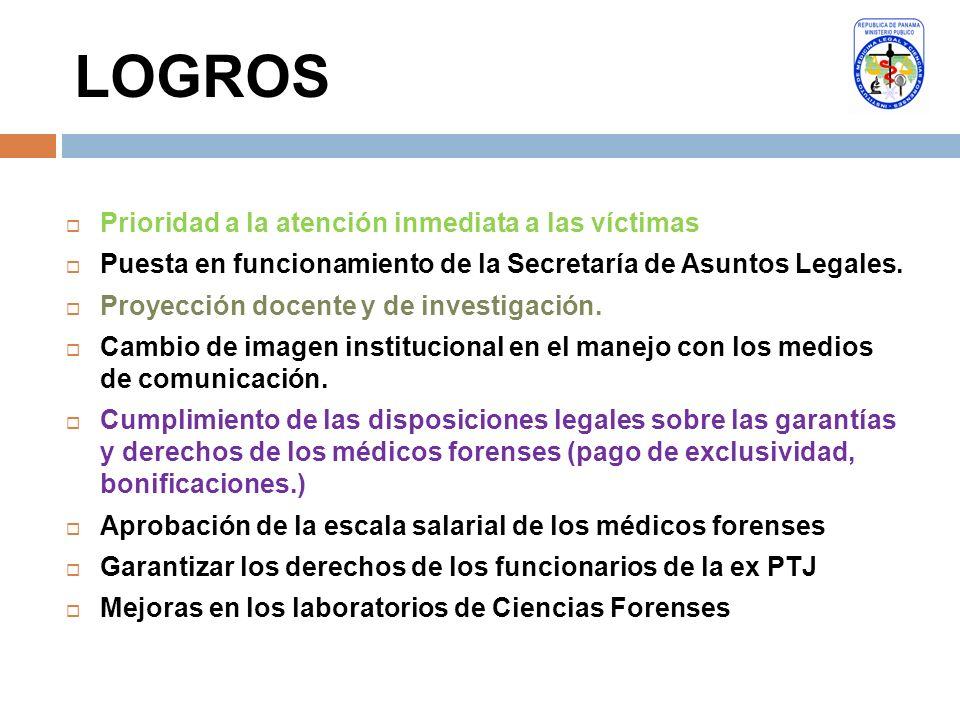 LOGROS Prioridad a la atención inmediata a las víctimas Puesta en funcionamiento de la Secretaría de Asuntos Legales. Proyección docente y de investig