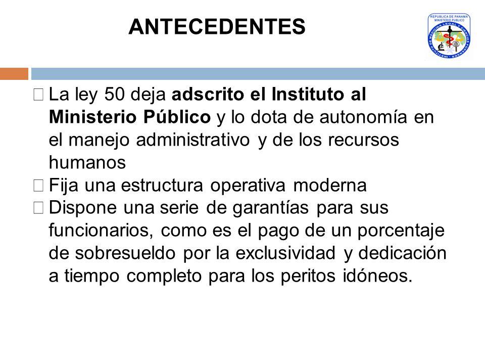 La ley 50 deja adscrito el Instituto al Ministerio Público y lo dota de autonomía en el manejo administrativo y de los recursos humanos Fija una estru