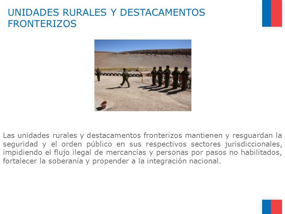 UNIDADES RURALES Y DESTACAMENTOS FRONTERIZOS Las unidades rurales y destacamentos fronterizos mantienen y resguardan la seguridad y el orden público e