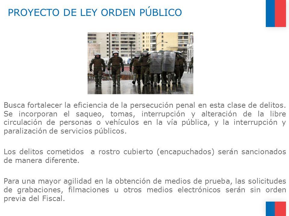 PROYECTO DE LEY ORDEN PÚBLICO Busca fortalecer la eficiencia de la persecución penal en esta clase de delitos. Se incorporan el saqueo, tomas, interru