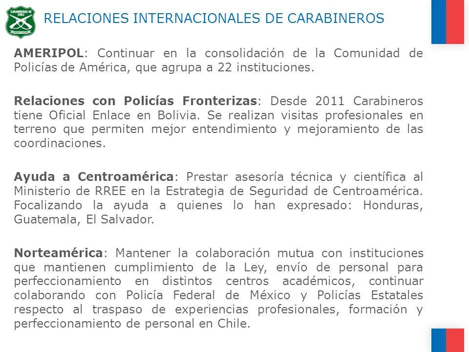 RELACIONES INTERNACIONALES DE CARABINEROS AMERIPOL: Continuar en la consolidación de la Comunidad de Policías de América, que agrupa a 22 instituciones.