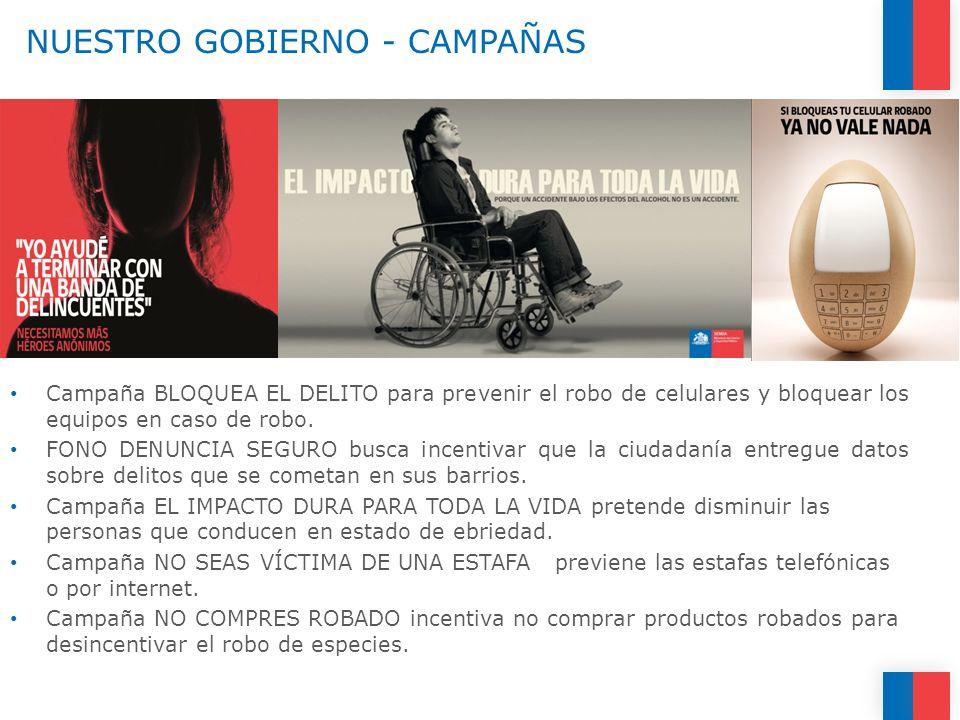 NUESTRO GOBIERNO - CAMPAÑAS Campaña BLOQUEA EL DELITO para prevenir el robo de celulares y bloquear los equipos en caso de robo. FONO DENUNCIA SEGURO