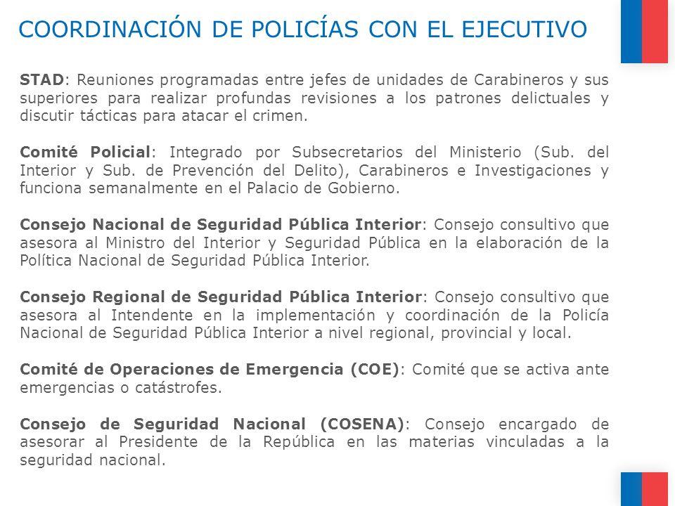 COORDINACIÓN DE POLICÍAS CON EL EJECUTIVO STAD: Reuniones programadas entre jefes de unidades de Carabineros y sus superiores para realizar profundas