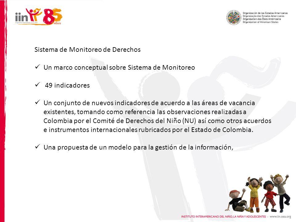 Sistema de Monitoreo de Derechos Un marco conceptual sobre Sistema de Monitoreo 49 indicadores Un conjunto de nuevos indicadores de acuerdo a las áreas de vacancia existentes, tomando como referencia las observaciones realizadas a Colombia por el Comité de Derechos del Niño (NU) así como otros acuerdos e instrumentos internacionales rubricados por el Estado de Colombia.