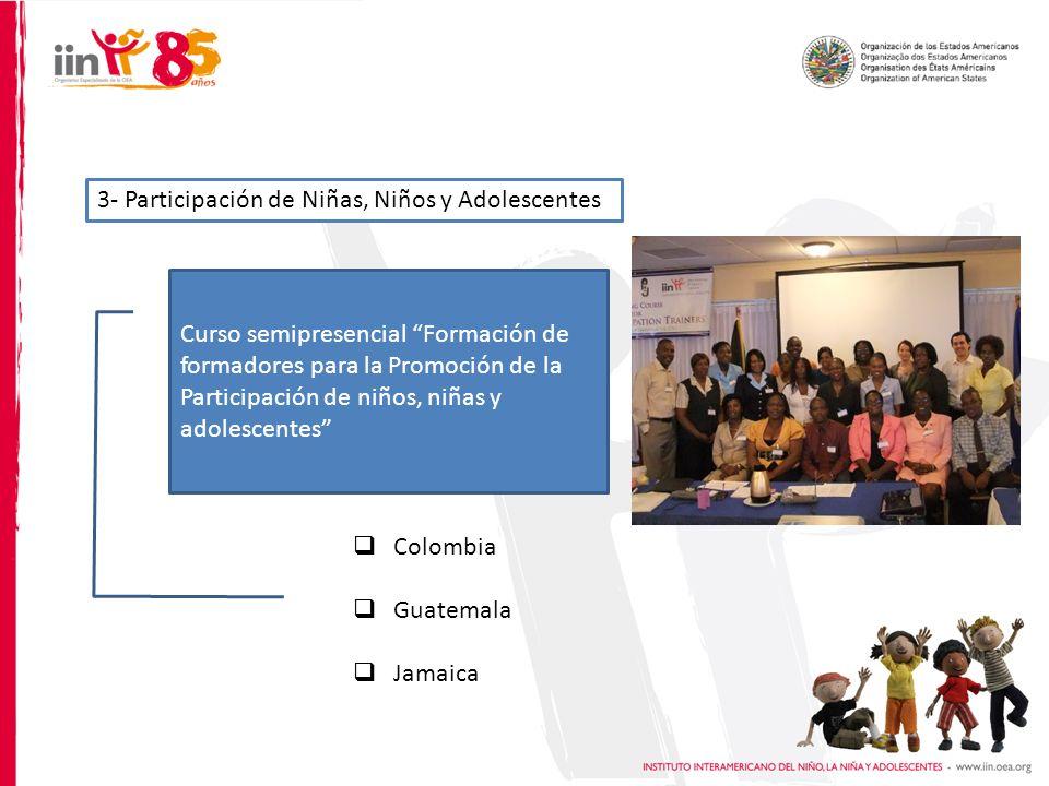 3- Participación de Niñas, Niños y Adolescentes Colombia Guatemala Jamaica Curso semipresencial Formación de formadores para la Promoción de la Participación de niños, niñas y adolescentes