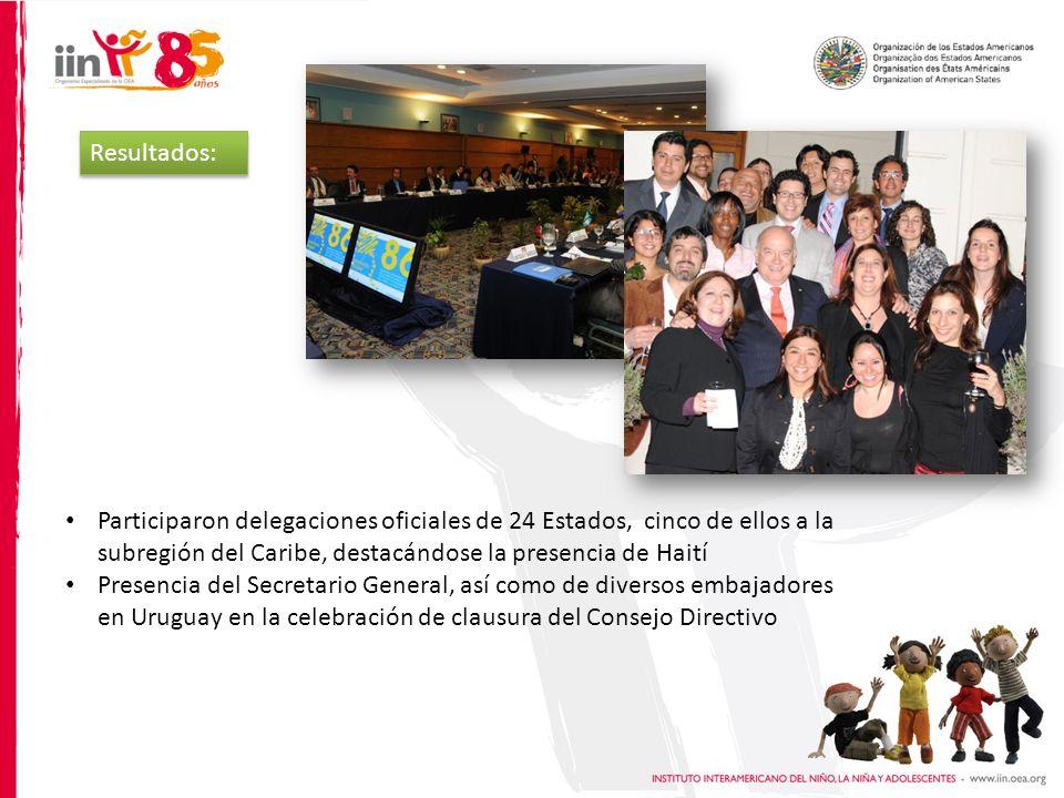 Resultados: Participaron delegaciones oficiales de 24 Estados, cinco de ellos a la subregión del Caribe, destacándose la presencia de Haití Presencia del Secretario General, así como de diversos embajadores en Uruguay en la celebración de clausura del Consejo Directivo