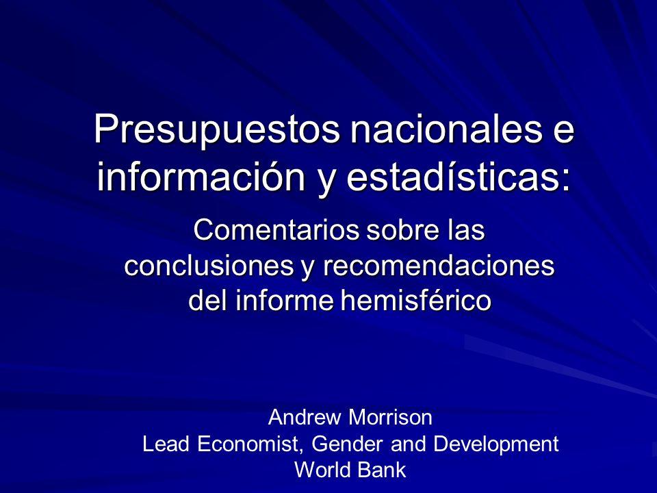 Presupuestos nacionales e información y estadísticas: Comentarios sobre las conclusiones y recomendaciones del informe hemisférico Andrew Morrison Lea