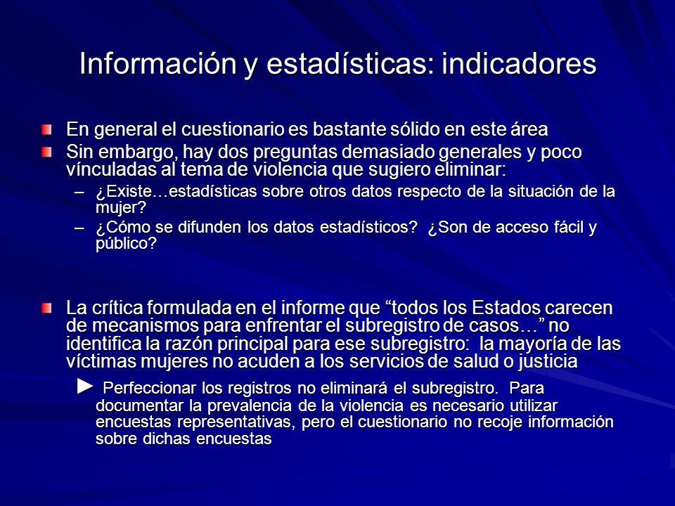 Información y estadísticas: indicadores En general el cuestionario es bastante sólido en este área Sin embargo, hay dos preguntas demasiado generales