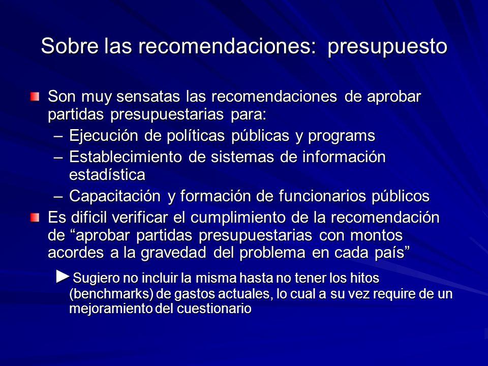 Sobre las recomendaciones: presupuesto Son muy sensatas las recomendaciones de aprobar partidas presupuestarias para: –Ejecución de políticas públicas