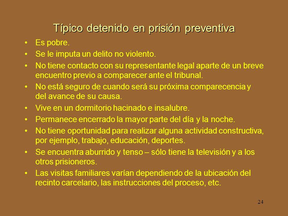 24 Típico detenido en prisión preventiva Es pobre.