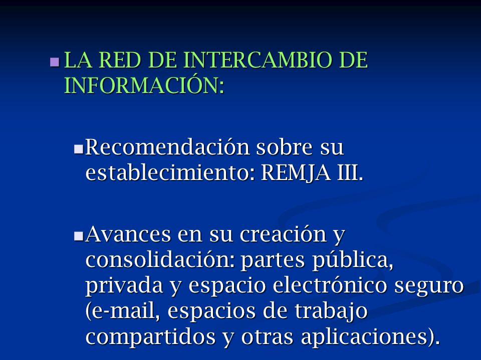 LA RED DE INTERCAMBIO DE INFORMACIÓN: LA RED DE INTERCAMBIO DE INFORMACIÓN: Recomendación sobre su establecimiento: REMJA III.